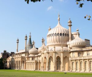 A horizontal picture of Brighton Pavillion on a summers day. It was built in 1784 and purchased in the early nineteenth century for the Prince Regent.  It is also known as the 'Royal Pavilion' and between 1815 and 1821 was restyled by John Nash who employed a mixture of classical and Indian styles.